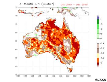 2019年10-12月の3か月間の降水量から計算したSPI