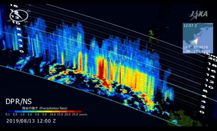 全球降水観測計画(GPM)主衛星搭載二周波降水レーダ(DPR)による台風10号の降水3次元観測結果(2019年8月13日12:57 (世界標準時))。