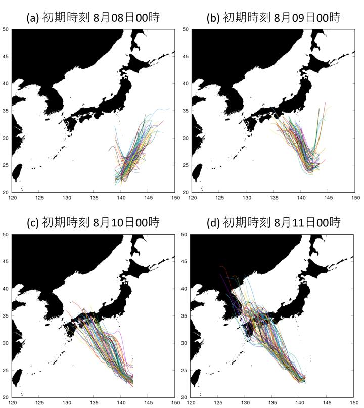 NEXRAの100個のメンバーによる台風進路の予測。初期値は(a) 2019年8月8日00時, (b) 2019年8月9日00時, (c) 2019年8月10日00時, (d) 2019年8月11日00時(すべて世界標準時)。