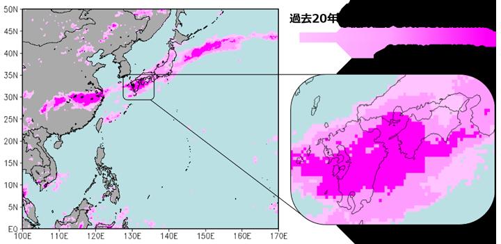 2020年7月1日~7日(世界標準時)における持続的な豪雨の指標(90, 95, 99パーセンタイル値)。濃いピンクは、過去20年の7月1日~7日(世界標準時)の平均降水量のうち上位1%の降水強度(99パーセンタイル値)以上に相当する降水があった領域を示しています。