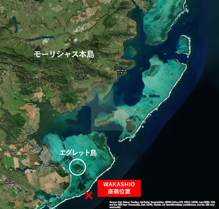 モーリシャスと座礁船の位置説明