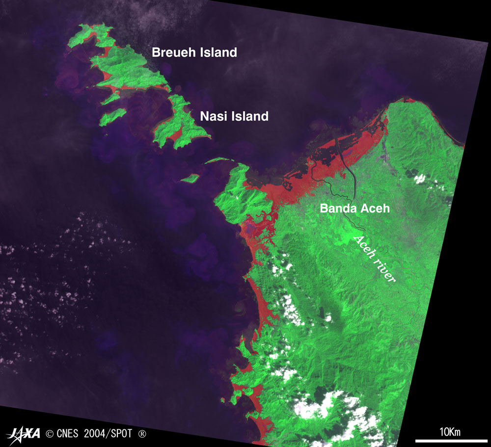 Districts Stricken By Giant Earthquake Off Sumatra And Tsunami Seen From Space 2005 Jaxa Earth Observation Research Center Eorc