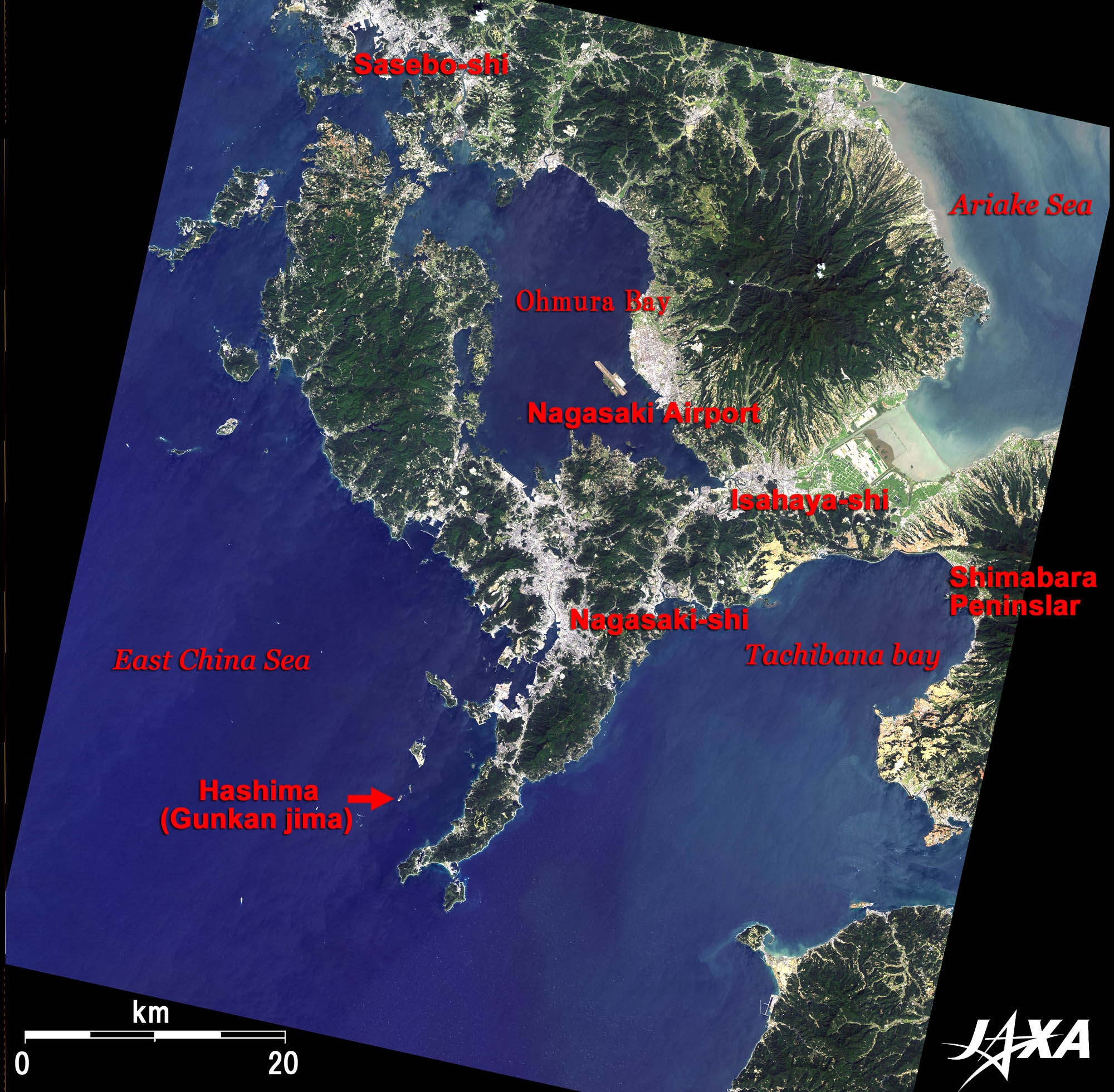 Nagasaki On World Map.Nagasaki And Warship Island 2009 Jaxa Earth Observation Research