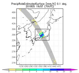 衛星全球降水マップGSMaPによる7月5日10:00から8日9:59の72時間積算降水量