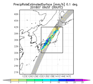 7月7日9時半頃(日本時間)にGPM二周波降水レーダが観測した地表付近の降水分布